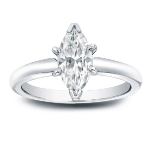 Platinum 1ct TDW Marquise Diamond Solitaire Engagement Ring - Custom Made By Yaffie™