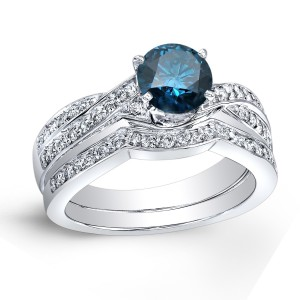 Platinum 1ct TDW Round-Cut Blue Diamond Bridal Ring Set - Custom Made By Yaffie™