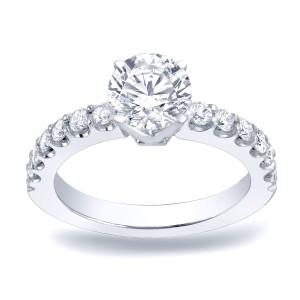 Platinum 1ct TDW Round Cut Diamond Engagement Ring - Custom Made By Yaffie™