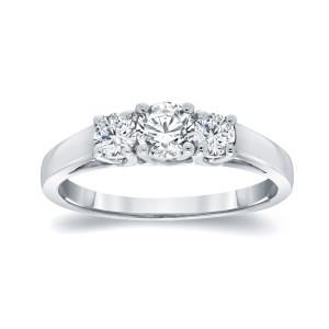 Platinum 1ct TDW Round Diamond 3-Stone Engagement Ring - Custom Made By Yaffie™