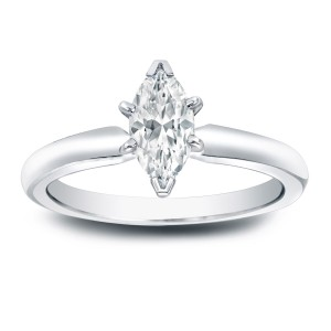 Platinum 2/5ct TDW Marquise Diamond Solitaire Engagement Ring - Custom Made By Yaffie™