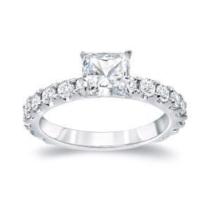 Platinum 2ct TDW Certified Princess Cut Diamond Engagement Ring - Custom Made By Yaffie™