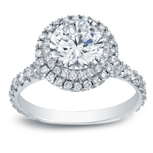 Platinum 2ct TDW Certified Round-Cut Diamond Double Halo Engagement Ring - Custom Made By Yaffie™