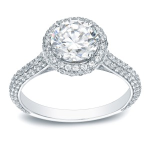 Platinum 2ct TDW Certified Round-Cut Diamond Halo Engagement Ring - Custom Made By Yaffie™