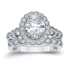Platinum 3 1/8ct TDW Certified Oval Diamond Halo Bridal Ring Set - Custom Made By Yaffie™
