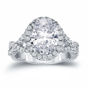 Platinum 3 1/8ct TDW Certified Oval Diamond Halo Engagement Ring - Custom Made By Yaffie™