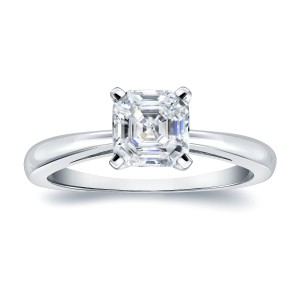 Platinum 3/4ct TDW Asscher-Cut Diamond Solitaire Engagement Ring - Custom Made By Yaffie™