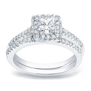 Platinum 3/4ct TDW Princess Cut Diamond Halo Bridal Ring Set - Custom Made By Yaffie™