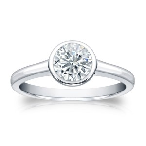 Platinum 3/4ct TDW Round-cut Diamond Bezel Solitaire Engagement Ring - Custom Made By Yaffie™