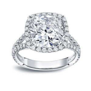 Platinum 4 1/3ct TDW Cushion Cut Diamond Halo Engagement Ring - Custom Made By Yaffie™