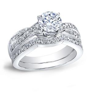 Platinum 4/5ct TDW Certified Round-cut Diamond Braided Bridal Ring Set - Custom Made By Yaffie™