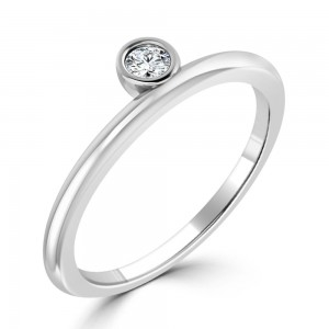 Women's Gold 1/10ct TDW Bezel Round Diamond Solitaire Ring - Custom Made By Yaffie™