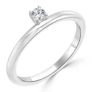 Women's Gold 1/10ct TDW Prong Round Diamond Engagement Solitaire Ring - Custom Made By Yaffie™