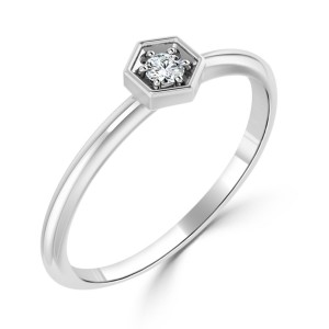 Women's Gold 1/10ct TDW Prong Round Diamond Hexagon Solitaire Ring - Custom Made By Yaffie™
