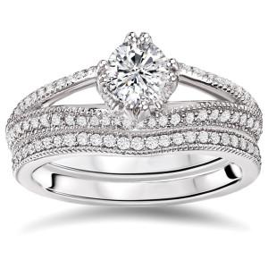 White Gold 4/5ct TDW Diamond Bridal Ring Set - Custom Made By Yaffie™