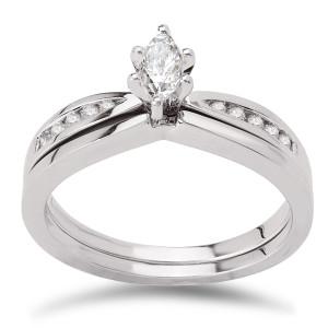 White Gold 1/3ct TDW Diamond Marquise Center Bridal Ring Set - Custom Made By Yaffie™