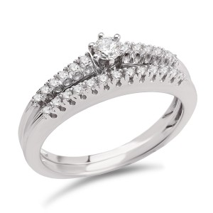 White Gold 1/4ct TDW Diamond Classic Bridal Ring Set - Custom Made By Yaffie™