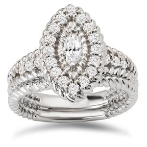 White Gold 3/4ct TDW Diamond Marquise Halo Bridal Ring Set - Custom Made By Yaffie™