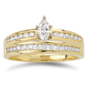 Gold 2/5ct TDW Marquise and Baguette Diamond Bridal Ring Set - Custom Made By Yaffie™