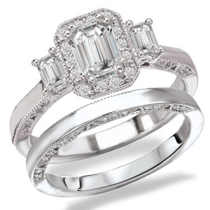 Rhodium Plated Sterling Silver Cubic Zirconia Emerald Cut Center Three Stone Look Bridal Set - Custom Made By Yaffie™