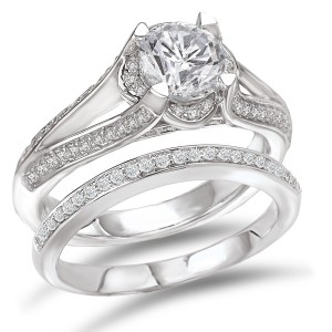 Rhodium-plated Sterling Silver 2 2/5ct Cubic Zirconia Round Split Shank Bridal Ring Set - Custom Made By Yaffie™