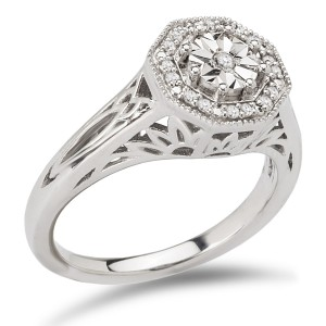 Sterling Silver 1/10ct TDW Octogonal Halo Vintage Diamond Engagement Ring - Custom Made By Yaffie™