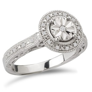 Sterling Silver 1/10ct TDW Round Halo Vintage Diamond Engagement Ring - Custom Made By Yaffie™