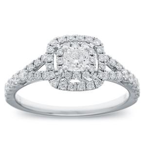 White Gold 1ct TDW Cushion Diamond Double Halo Engagement Ring - Custom Made By Yaffie™