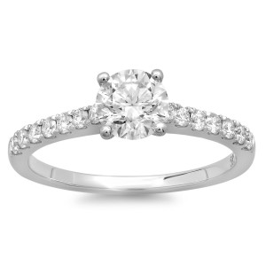 White Gold 1ct TDW Round Diamond Solitaire Engagement Ring - Custom Made By Yaffie™