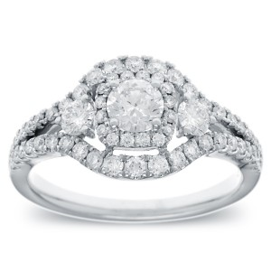 White Gold 1ct TDW Vintage-style Halo Diamond Ring - Custom Made By Yaffie™