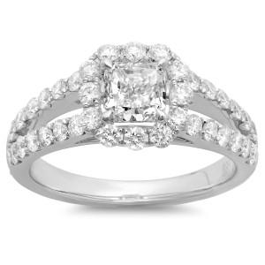 White Gold 2ct TDW Cushion-cut Diamond Halo Engagement Ring - Custom Made By Yaffie™