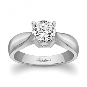 White Gold Round-cut Solitaire Diamond Engagement Ring - Custom Made By Yaffie™