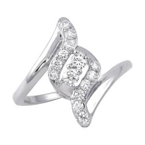 White Gold 2/5ct TDW Diamond 2-Stone Anniversary Ring - Custom Made By Yaffie™