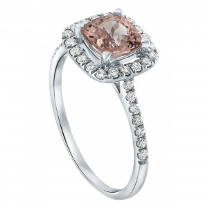 White Gold Morganite and 1/3ct Diamonds Engagement Ring - Custom Made By Yaffie™