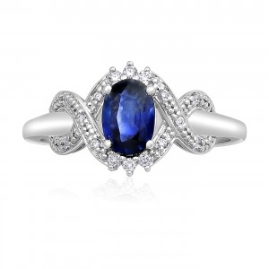 White Gold Oval Blue Sapphire and Diamond Accent Engagement Ring - Custom Made By Yaffie™