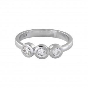 White Gold 1/2ct TDW 3-stone Ring - Custom Made By Yaffie™