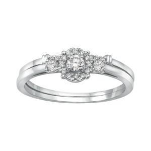 White Gold 1/3ct TDW 3-stone Halo Bridal Ring Set - Custom Made By Yaffie™