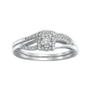 White Gold 1/3ct TDW Bridal Engagement Halo Ring Set - Custom Made By Yaffie™