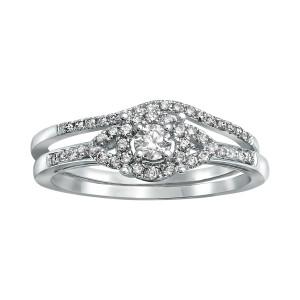 White Gold 1/3ct TDW Bridal Halo Engagement Ring Set - Custom Made By Yaffie™
