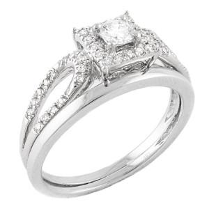 White Gold 1/3ct TDW Halo Bridal Set - Custom Made By Yaffie™