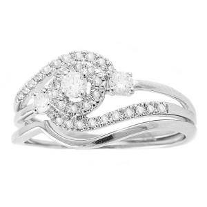 White Gold 1/3ct TDW Round Swirl Halo Diamond Bridal Set - Custom Made By Yaffie™