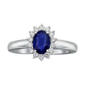 White Gold Vivid Color Oval Blue Sapphire and 1/4ct Diamond Halo Engagement Ring - Custom Made By Yaffie™