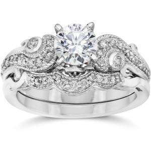 Bliss White Gold 3/ 4ct TDW Vintage Diamond Engagement Wedding Ring Set - Custom Made By Yaffie™