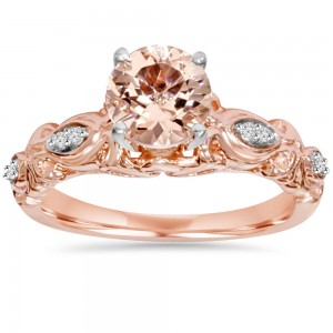Bliss Engagement Rose Gold 1/ 16 ct TDW Morganite and Diamond Vintage Ring - Custom Made By Yaffie™