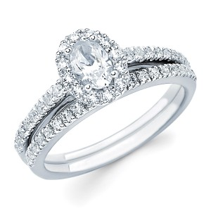 Diamonds White Gold 1ct TDW Oval-cut Center with Round Side Diamond Bridal Set - Handcrafted By Yaffie™