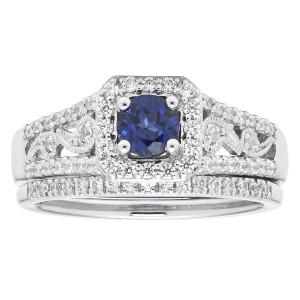 Diamonds White Gold 3/4ct Diamond and Sapphire Bridal Set - Custom Made By Yaffie™