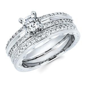 Diamonds White Gold 3/4ct TDW Classic Diamond Bridal Set - Custom Made By Yaffie™