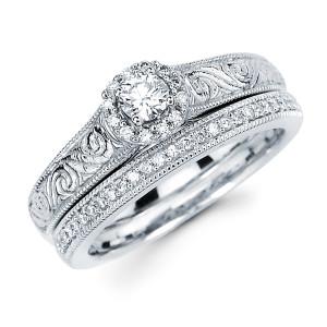 Diamonds White Gold 3/8ct TDW Diamond Bridal Set - Custom Made By Yaffie™