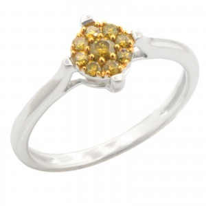 Brand New 0.19ct Round Brilliant Cut Yellow Color Trated Diamond Engagement Ring - Custom Made By Yaffie™
