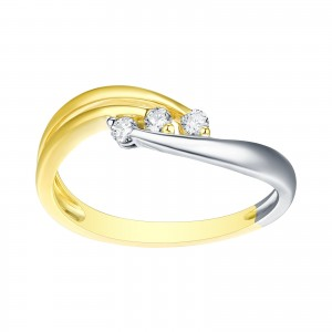 Brand New 3-Stone Round Brilliant Cut Natural Diamond Two Tone Engagement Ring - White G-H - Custom Made By Yaffie™